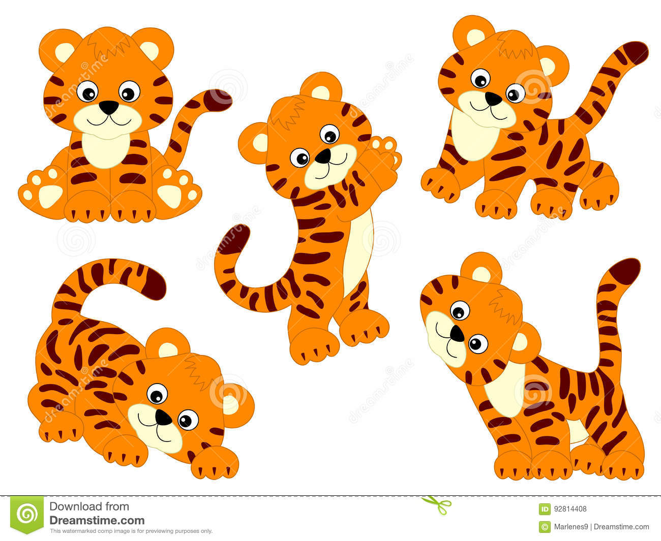 Vector Tigers Set stock vector. Illustration of color.