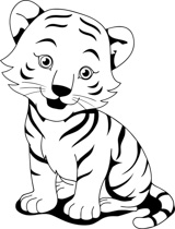 Tiger Clipart Black And White.