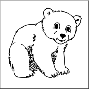 Bear Cub Clipart Black And White.