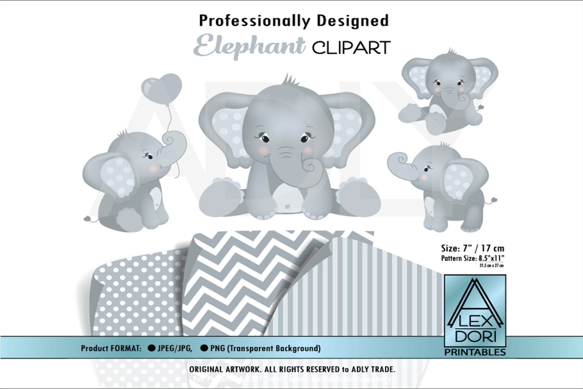 Gray Baby Cute Elephant with Adorable Poses in Clip Art.