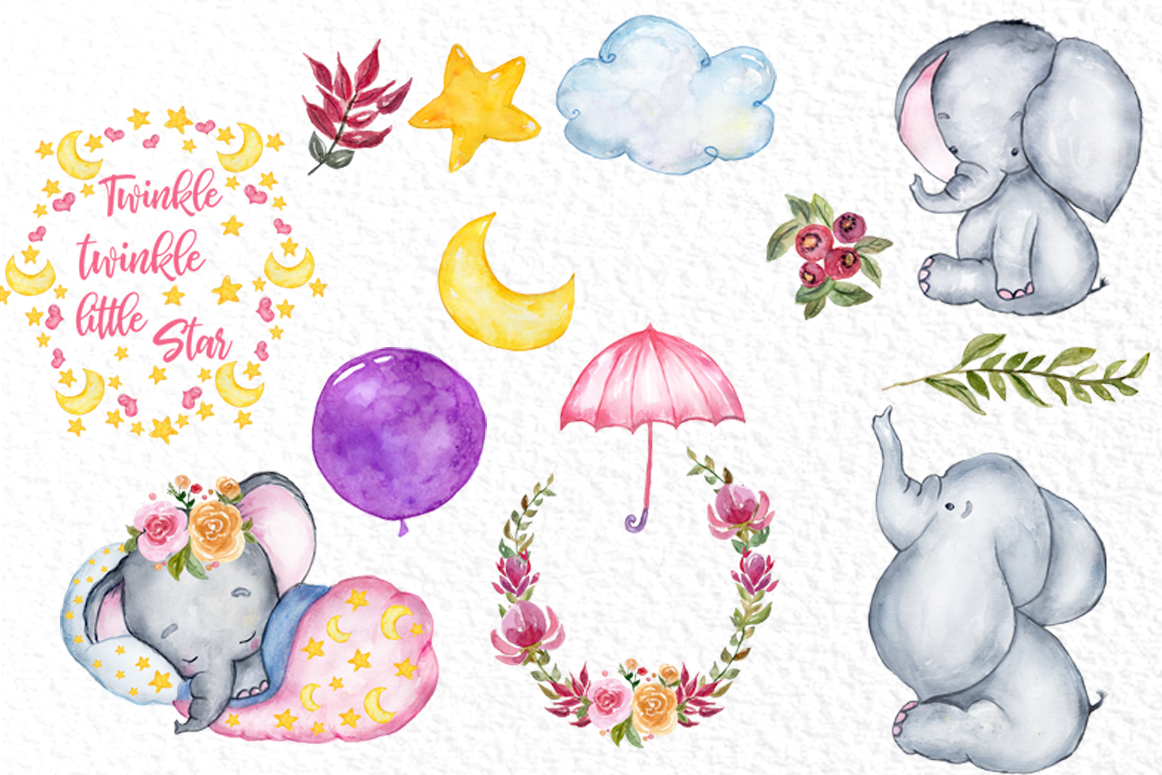 Cute Elephant clipart,WATERCOLOR ANIMALS, Baby shower clipat.