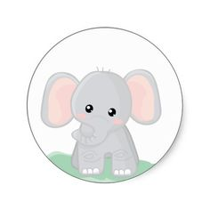 Cute Baby Elephant Clipart.