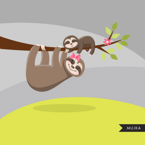 Sloth clipart. Cute baby & mom sloth graphics.