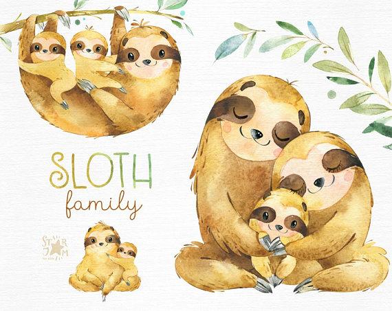 Sloth. Family. Watercolor animals clipart, sleepy sloths.