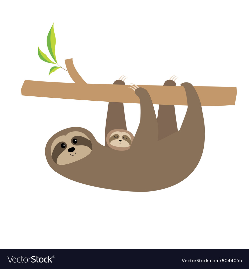 Sloth mother with baby Cute cartoon character Tree.