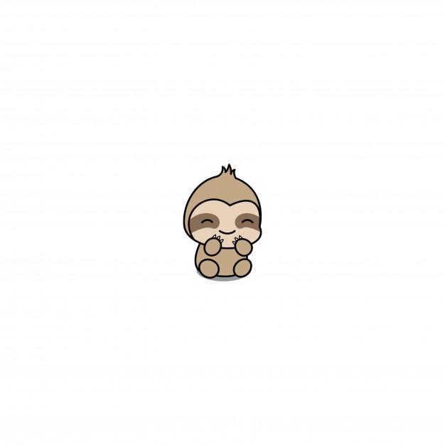 Cute baby sloth cartoon icon Vector.