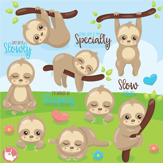 BUY 20 GET 10 OFF Sloth clipart commercial use, animal.