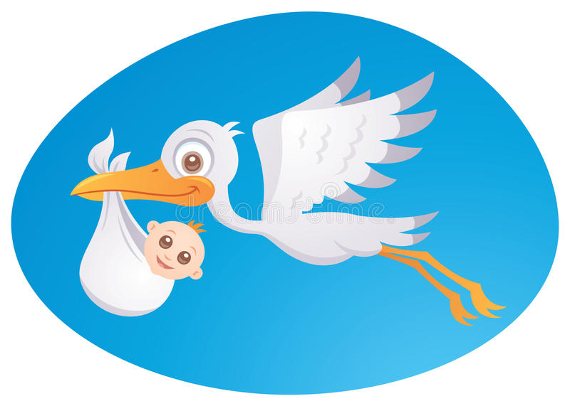 Delivery Stork Stock Illustrations.