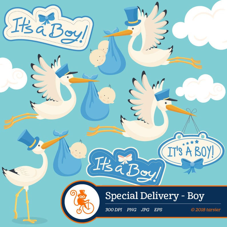 Special Delivery Boy clipart, baby clipart, new baby clipart, it's a boy  clipart, vector graphics, digital clip art, digital images.