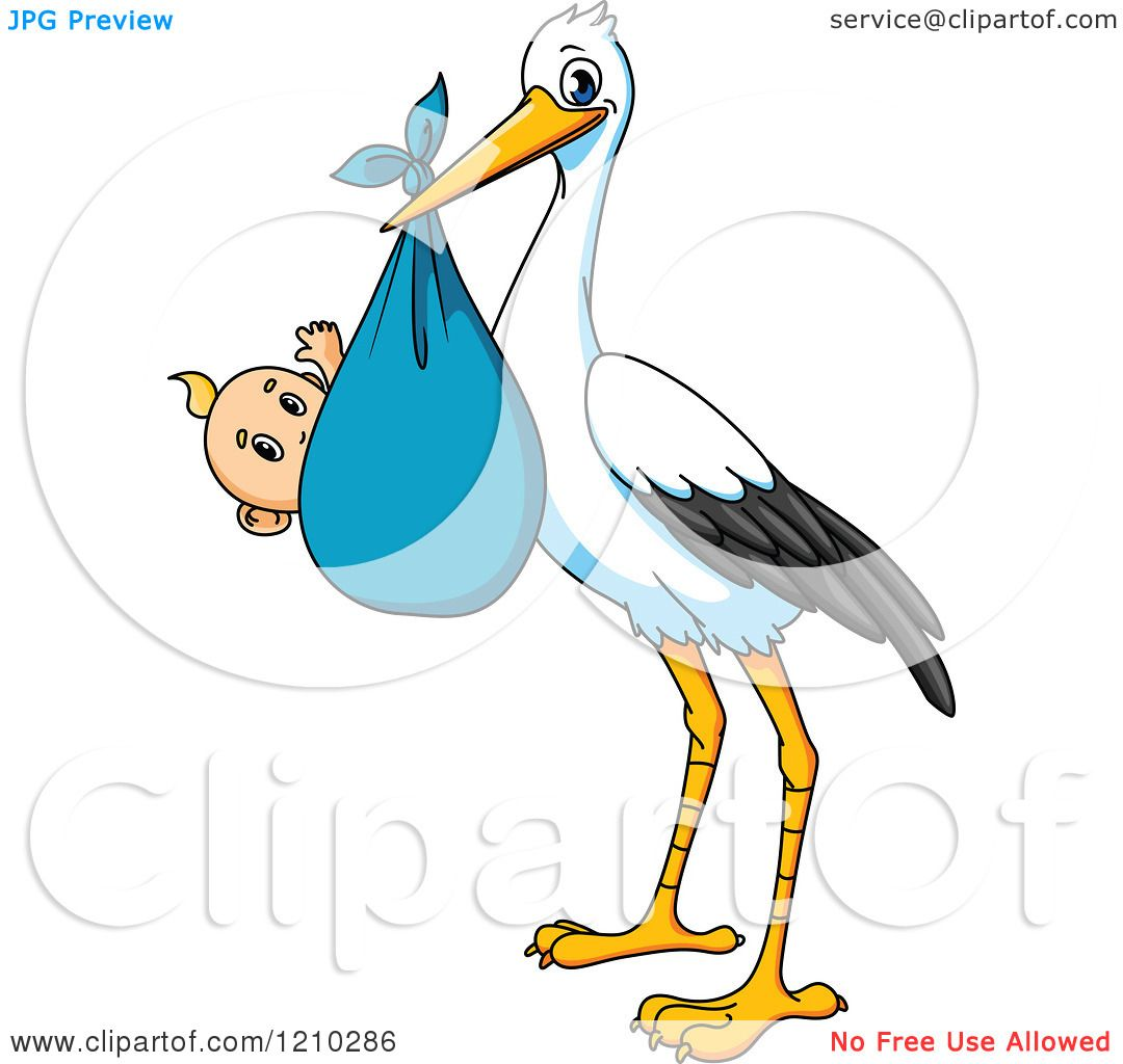 Clipart of a Baby Delivery Stork with a Boy.