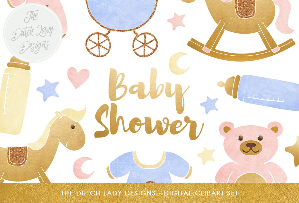 Baby Shower Clipart Set By The Dutch Lady Designs.