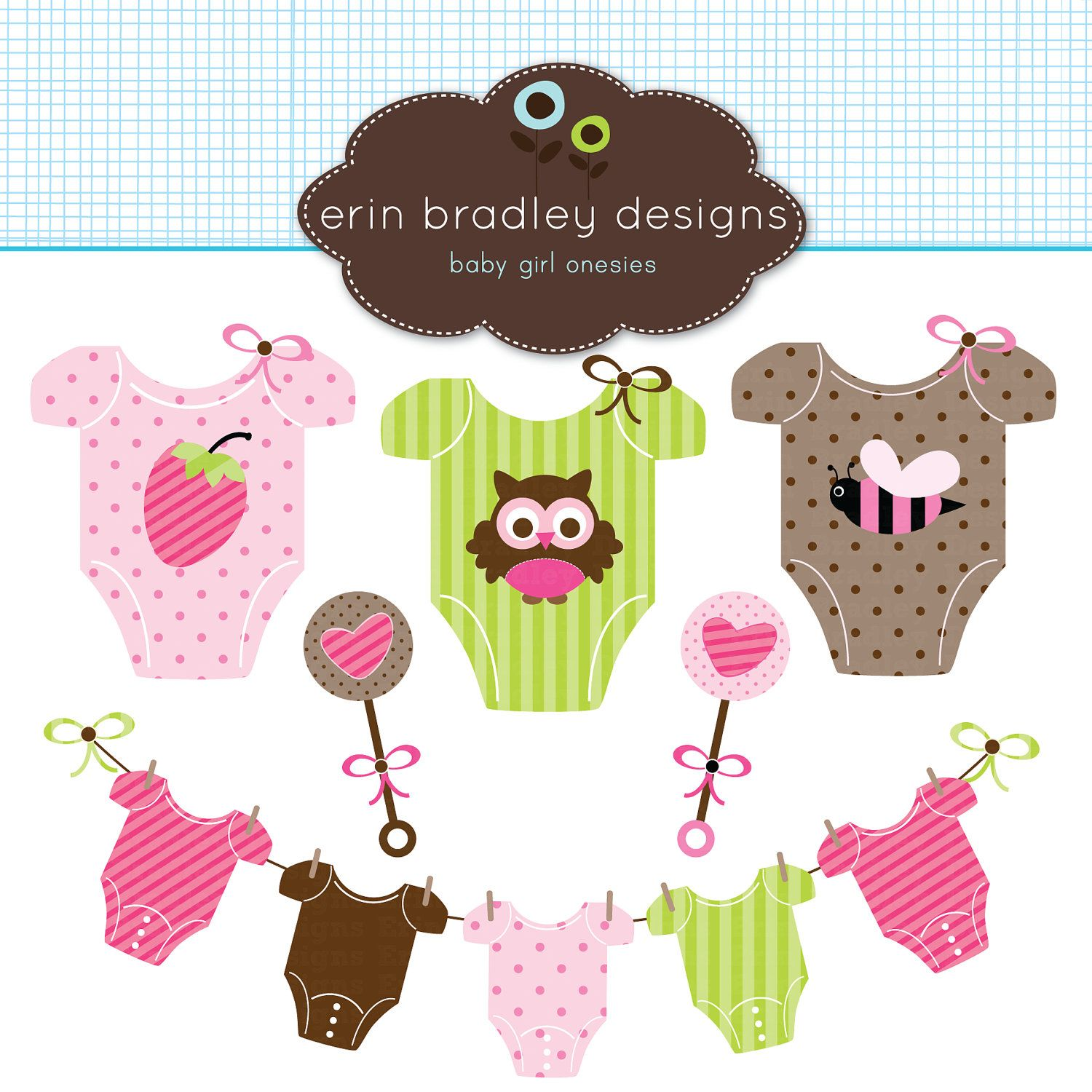 Baby Girl Tees Clipart Clip Art Personal & Commercial Use.