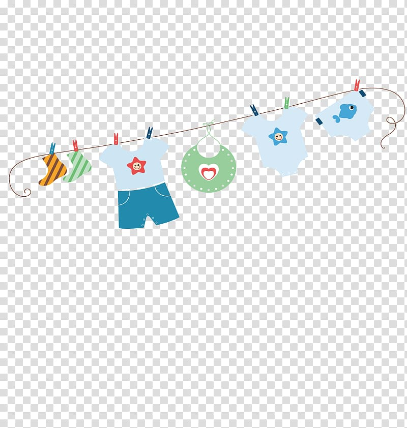 Assorted clothes hanging illustration, Diaper Clothes line.