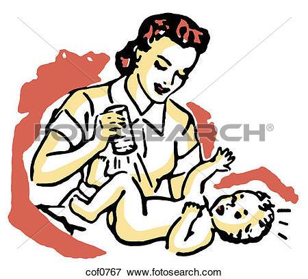 Stock Illustration of mom changing baby's diaper eva0019.
