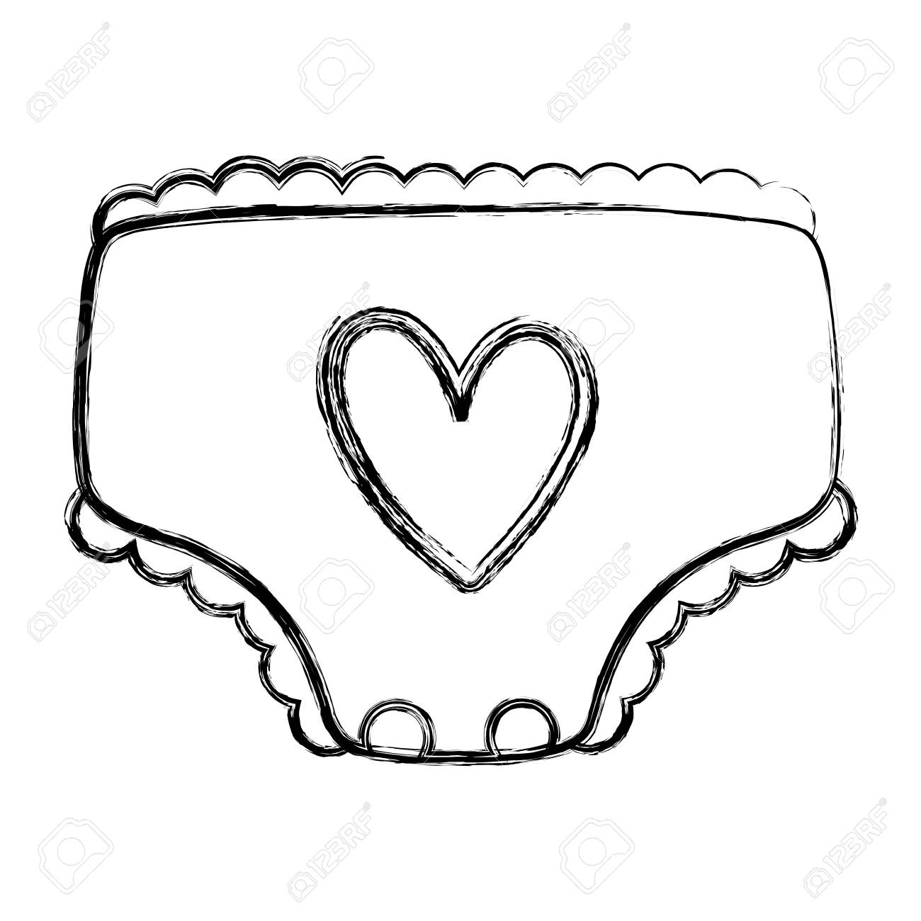 grunge cute comfortable baby diaper to hygiene vector illustration.