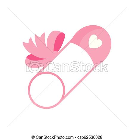 Cartoon Baby safety pin with a ribbon bow, diaper pin..