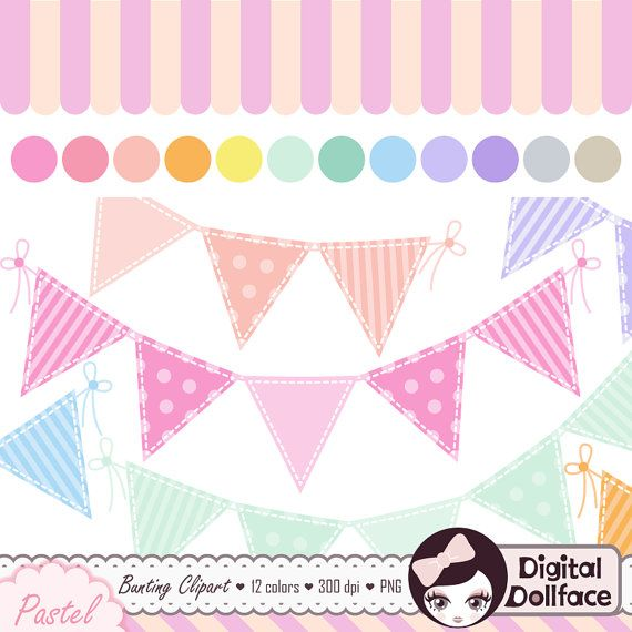 Pastel Bunting Clip Art Set Digital Banner Baby by.