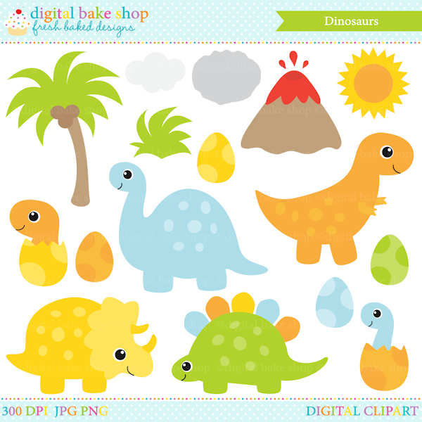 Dinosaur Clip Art for stickers, invitations, stationery and more.