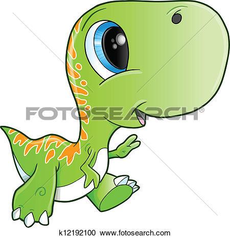 Clip Art of Cute Baby Triceratops Dinosaur k12192098.