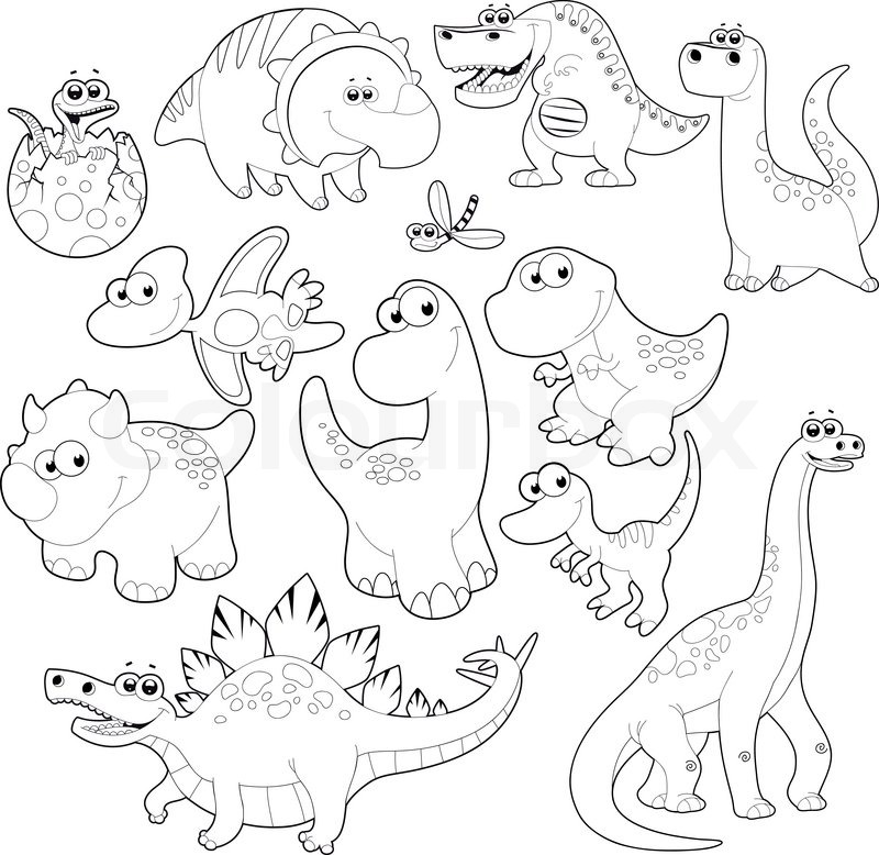 Dinosaurs Clipart Black And White.