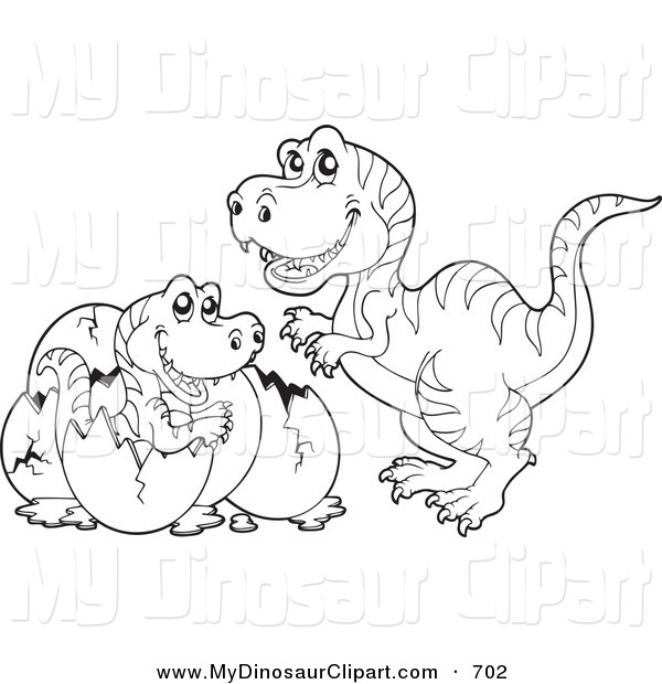 Clipart of a Coloring Page Outline of a Tyrannosaurus Watching His.