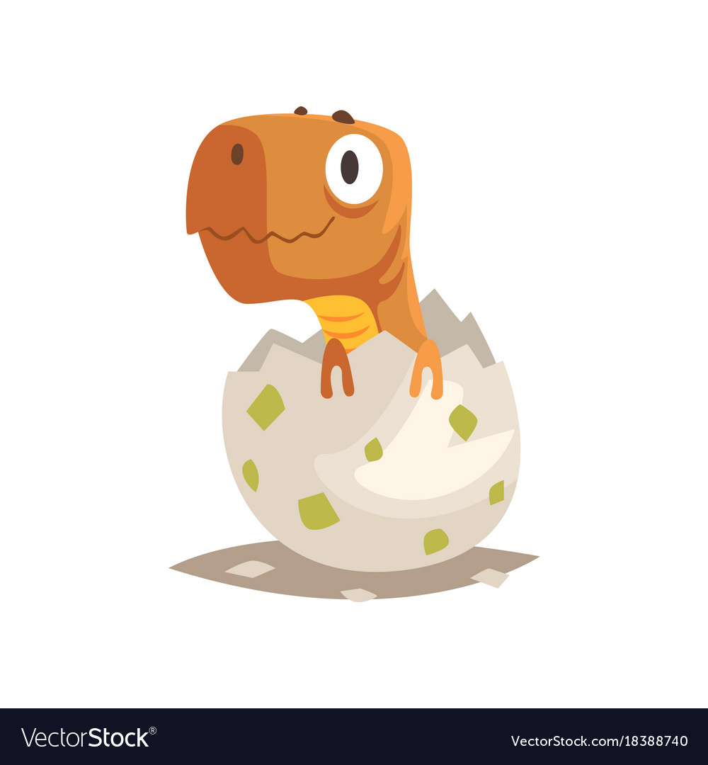 Funny dinosaur baby hatching from egg.