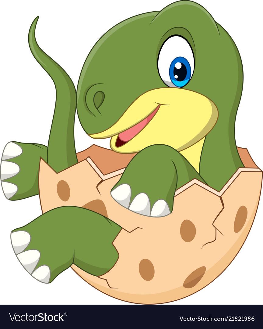 Cartoon baby dinosaur hatching.