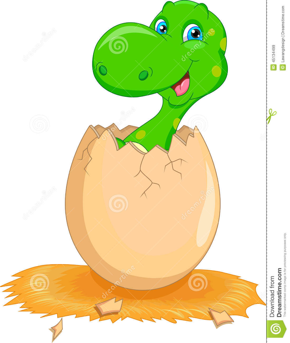Dinosaur Hatching Clipart.