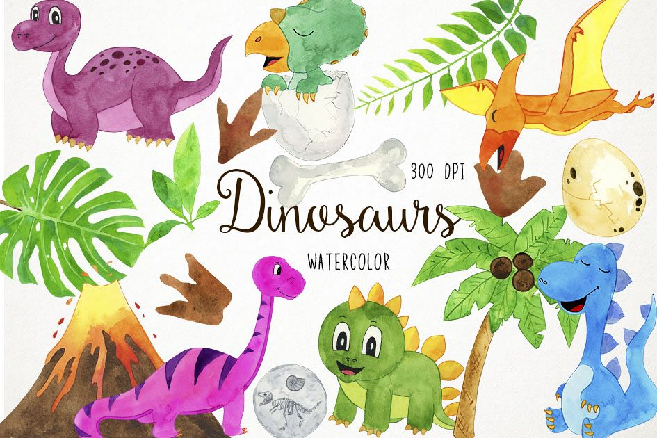 Watercolor Dinosaurs Clipart, Baby Dinosaur, Dino Clipart.