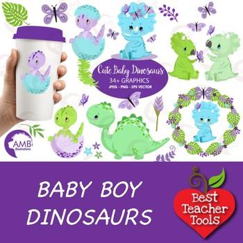 Baby Boy Dinosaur Clipart, Baby Dinosaur Clipart, Dino Clipart, AMB.