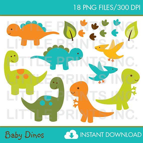 Cute Dinosaur Clipart / Dinosaur Baby Shower Clipart.