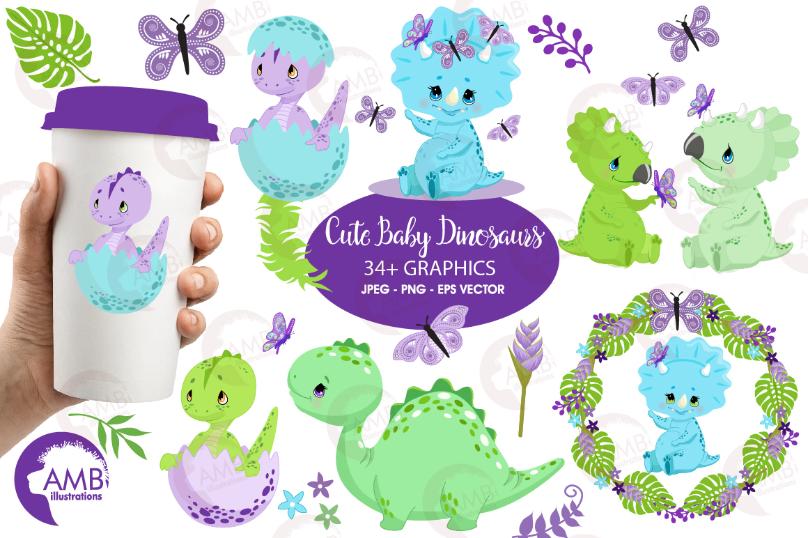 Baby Dinosaurs clipart, graphics, illustrations AMB.