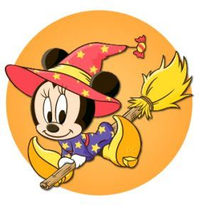 HALLOWEEN BABY MINNIE MOUSE WITCH CLIP ART.