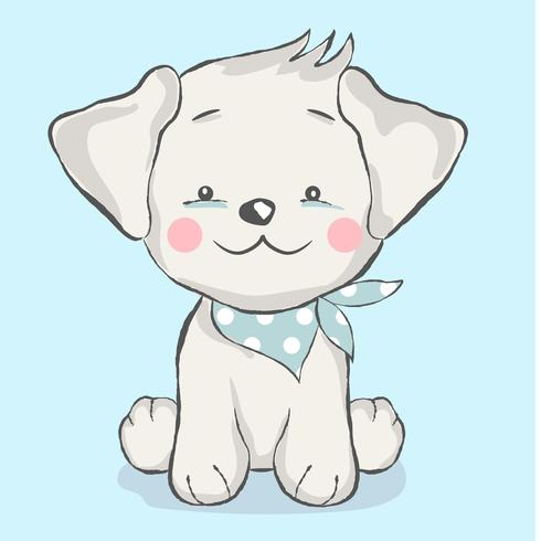 cute baby dog cartoon style.