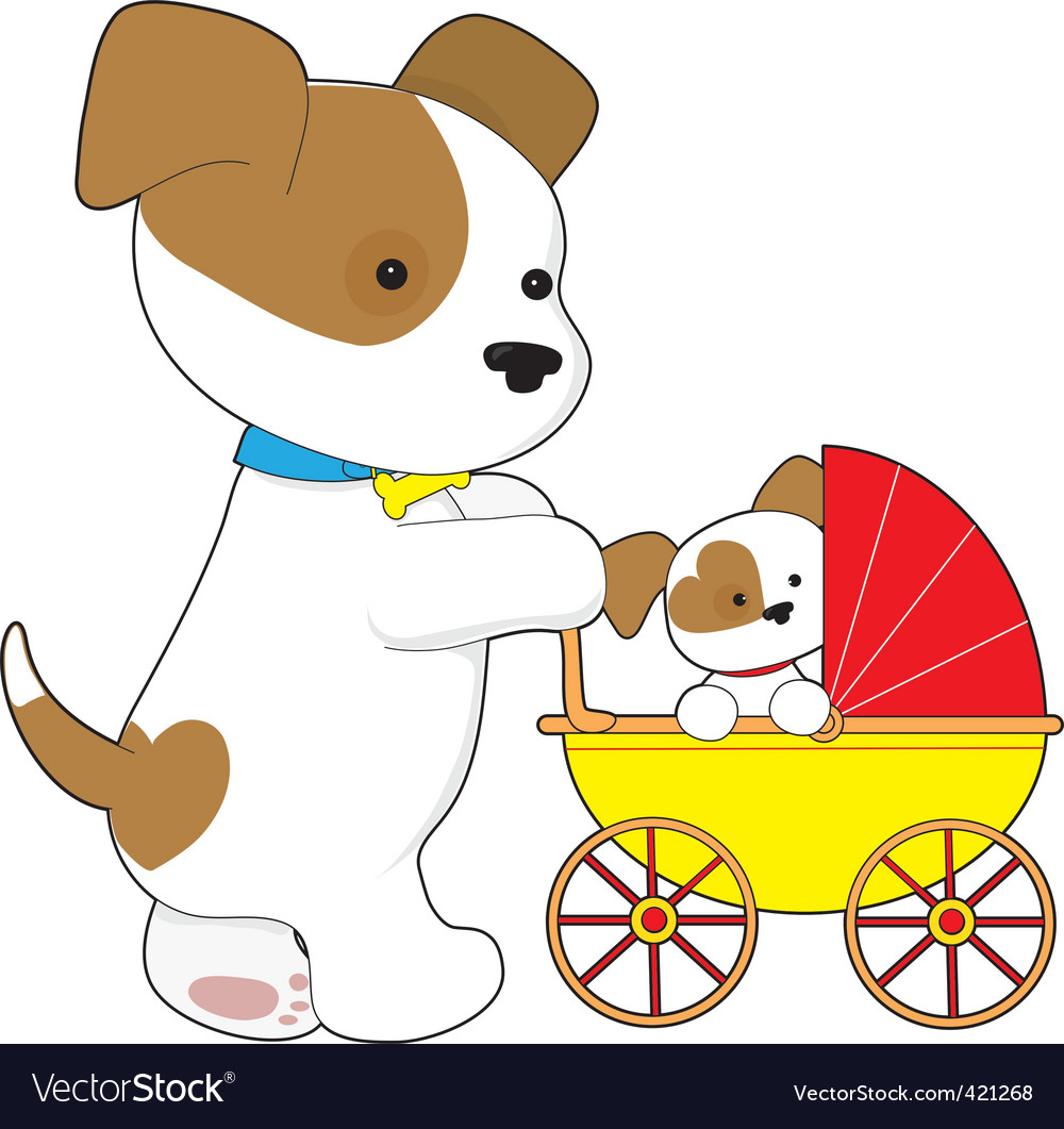 Cute puppy baby carriage.