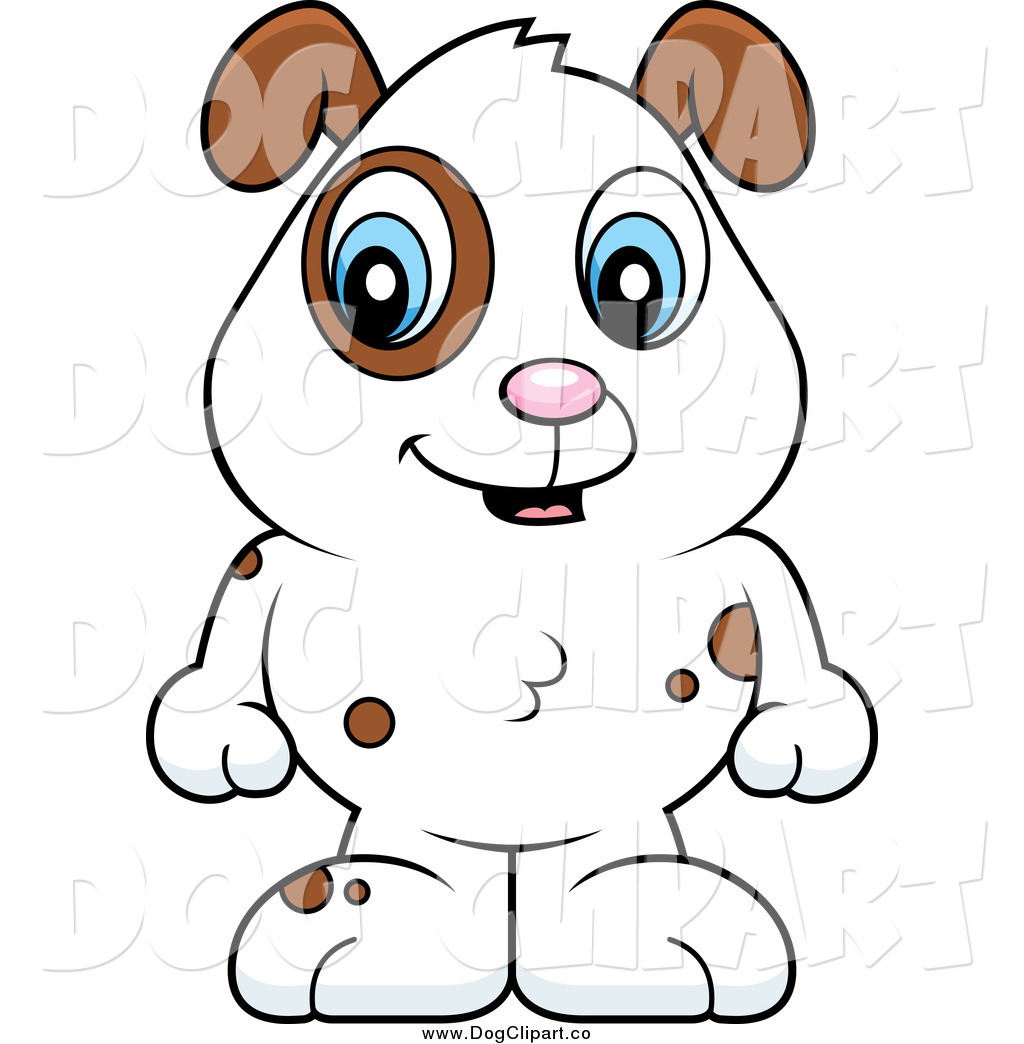 Vector Cartoon Clip Art of a Baby Dog with Brown Spots and a.