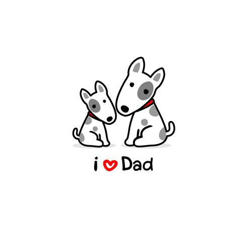 Greeting card for dad with cute dog and baby. Vector.
