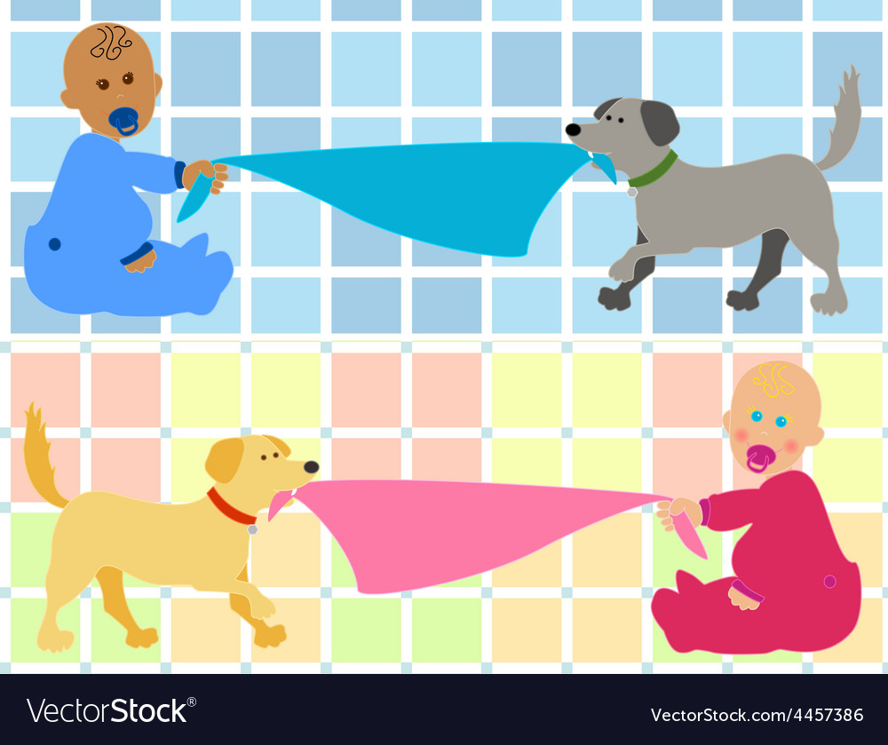 Cartoon baby with dog pulling blanket.
