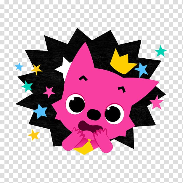 Pink dog with crown and star , Song Pinkfong Child Baby.