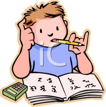 Child Doing Math Homework.