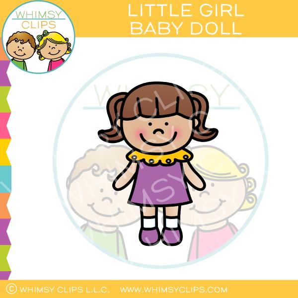 Little Girl Baby Doll Clip Art.