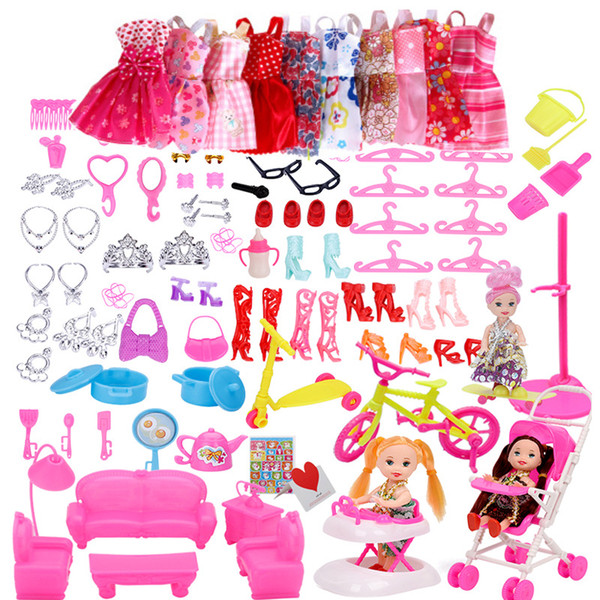 Nursery Pretend Play Toy Baby Cart Dolls 108 ItemsDoll Accessories 118  Items Dresses Shoes 4 Patterns For Dollhouse Sets Clothes 18 Inch Doll Toys  And.