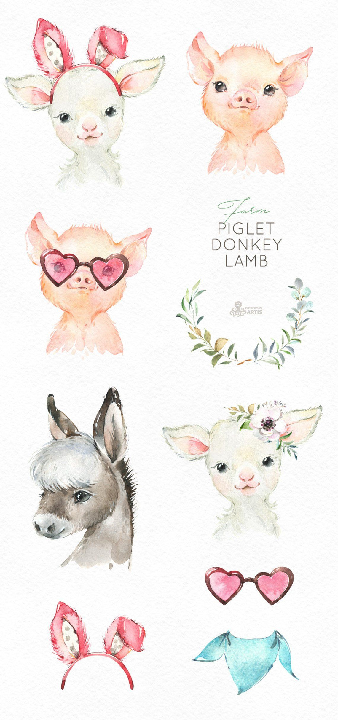 Farm Piglet Donkey Lamb. Watercolor little animals clipart.