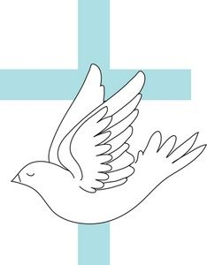 Dove Clipart Image: A white cartoon dove with a blue cross.