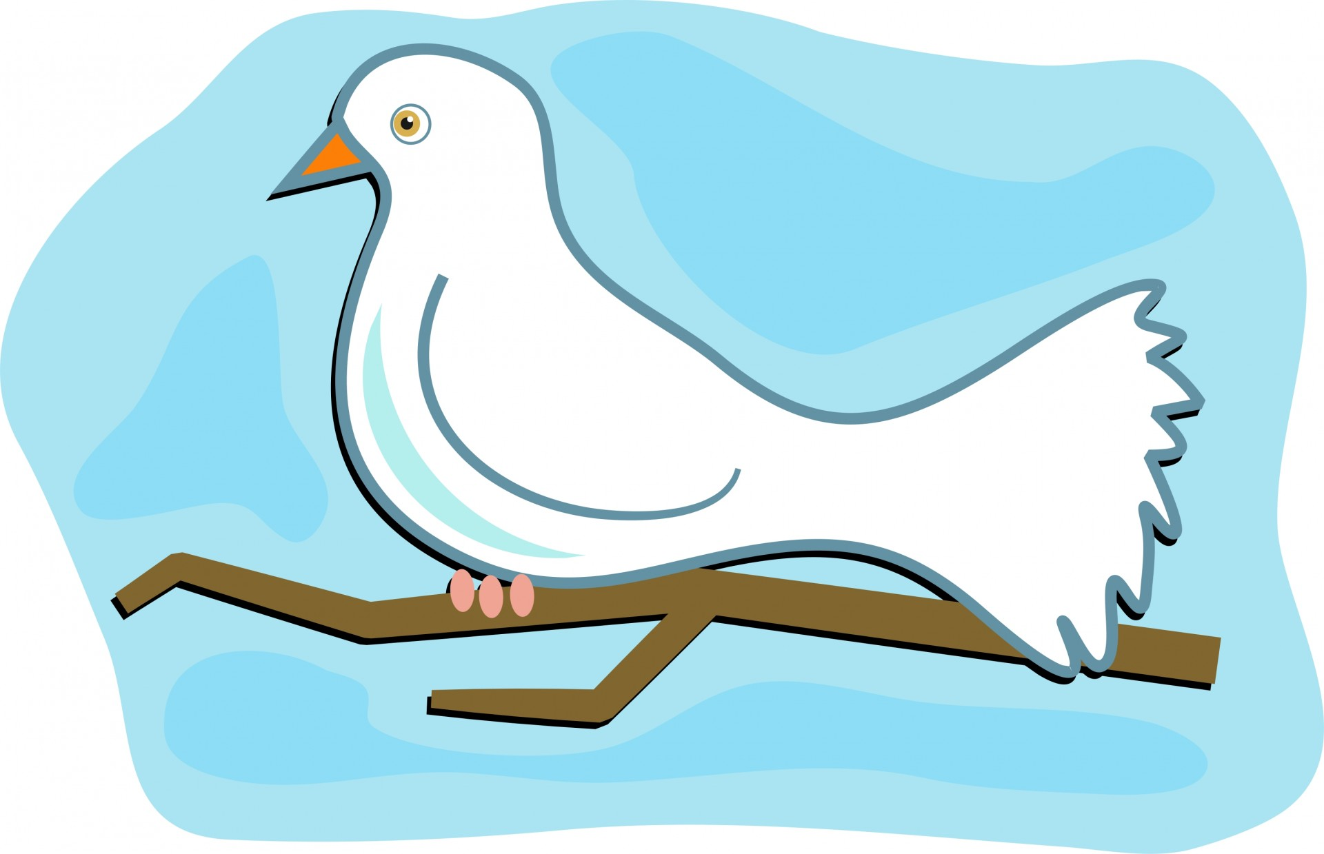 Christian clip art graphic descending dove solid white dove.