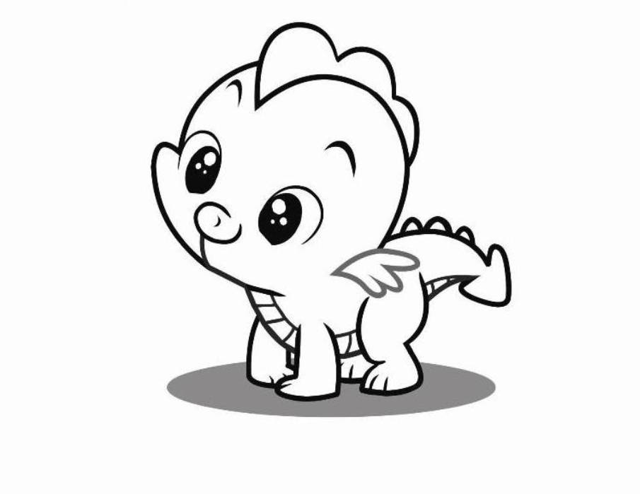 Cute Dragon Clipart Black And White.