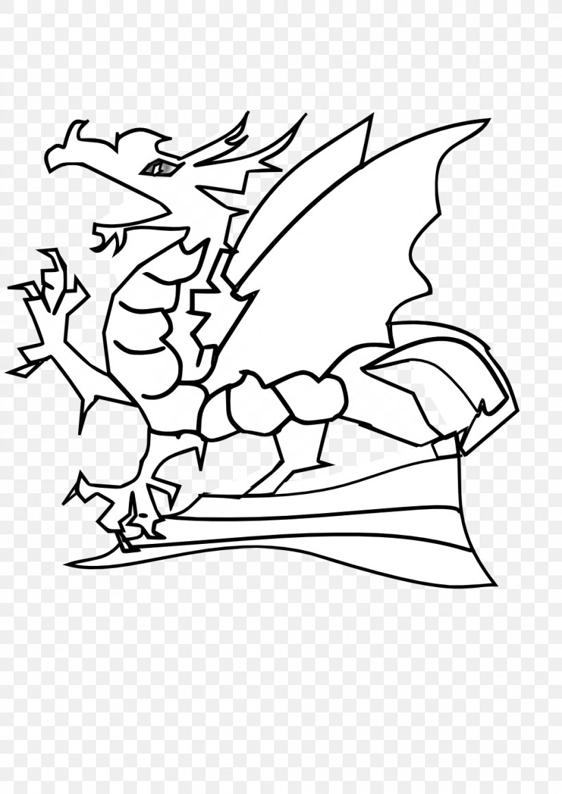 Dragon Black And White Clip Art, PNG, 999x1413px, Dragon.