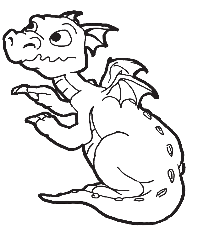 coloring pages of a new born baby dragon for kids.
