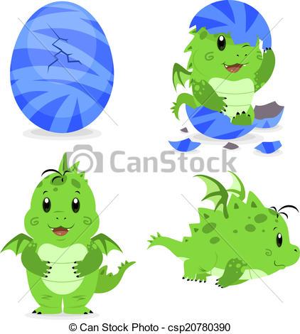 EPS Vectors of Baby dragon hatching.