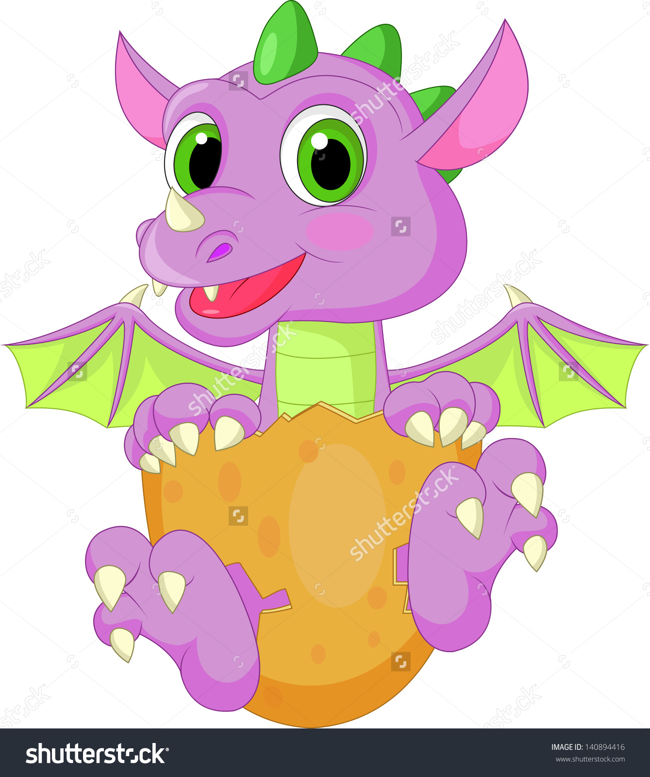 Baby Dragon Hatching Stock Vector 140894416.